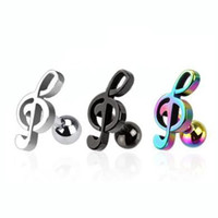 316L Surgical Steel Music Note Cartilage/Tragus Earring in Black, Rainbow, and Silver Color