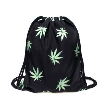 Drawstring Backpack in nature leaf pattern in black color for draw sack