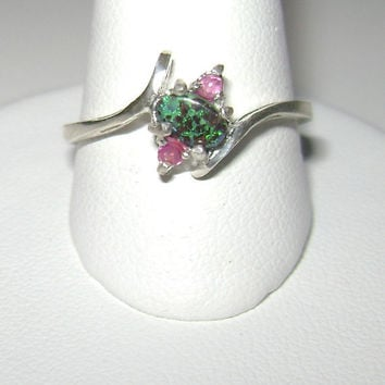 Genuine Ruby & Matrix Boulder Opal Ring Sterling Silver .925 Size 7