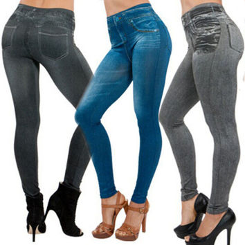 Jeggings Stretchy Slim Leggings NEW Sexy Women Lady Jean Color Skinny Fashion Skinny Leggings Pants