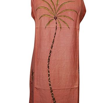Mogul Womens Beach Dress Palm Tree Embroidery Tie Back Boho Hippie Shift Dresses
