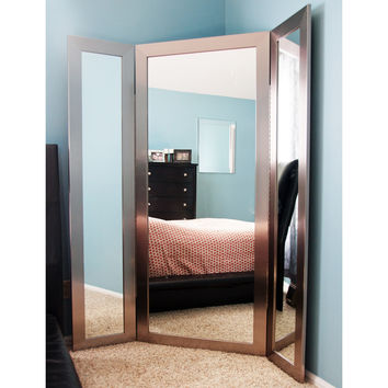 Brandt Works Modern Silver Tri-Fold 3 Way Dressing Mirror