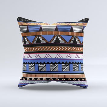 Abstract Blue and Brown Shaped Aztec ink-Fuzed Decorative Throw Pillow