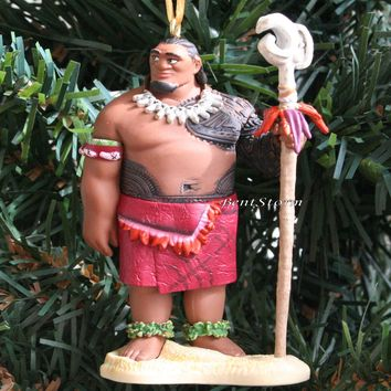 Licensed cool 2016 Custom Disney Moana Movie ISLAND CHIEF DUI w/ Staff Christmas Ornament PVC