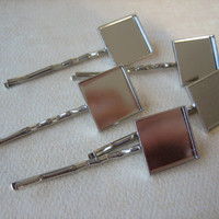 5PCS - Hair Pins - 12mm Square Bezel -  Silver Toned - Jewelry Findings by ZARDENIA