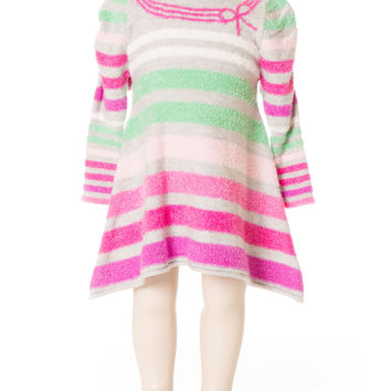 Deux Par Deux Girls Patte De Velours Striped Knit Dress Size 2-5 YRS
