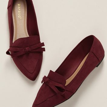 Tie Detail Pointed Toe Slip On Loafer Flats