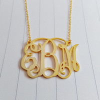 """Personalized Monogram Necklace,3 Initial Monogram Necklace,Gold Monogram Necklace,1.5"""" inch Personalized Monogram Necklace,Custom Jewelry"""