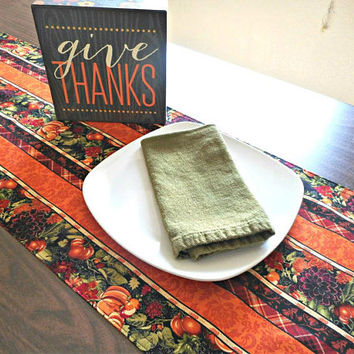 Pumpkins Table Runner Thanksgiving Fall Autumn Floral Stripes Mums Orange Red Green Purple Black Table Decor Reversible