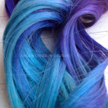 "Ombre Hair Extensions, Custom Order, Burning Man Festival Hair Extensions, (7) Piece, 20""/Festival Hair/Choose Your Root Color"