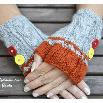 Grey & Orange Fingerless mittens, Fingerless mittens ,  gloves, hand knit fingerless mittens fingerless gloves,, knit gloves