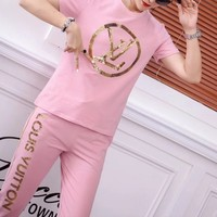 """Louis Vuitton"" Woman Casual  Fashion Letter Sequins Print Short Sleeve Trousers Two-Piece Casual Wear"