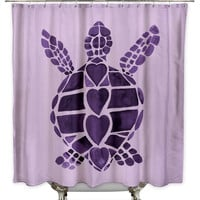 Turtle Love Purple Shower Curtain by Catherine Holcombe