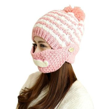 Cute Stylish Beard Winter Hat For Women Fashion Beanies With Mouth Mask Wool Hat Knit Cap Face Warm Ear Cap