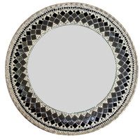 Round Black, Gray, Silver Mosaic Mirror // Jeweled Wall Art