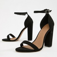 ASOS DESIGN Wide Fit Highball barely there heeled sandals at asos.com