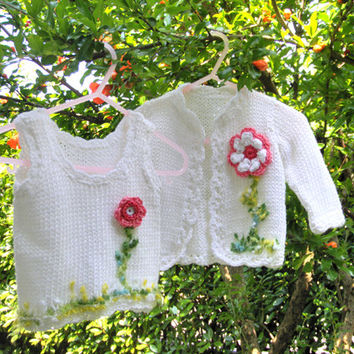 Baby Girl dresses Kids clothing Sweater Twins Handmade Baby Knitting Crochet Infants Pink Flowers Baby fashion