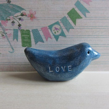 Polymer Clay Hand Carved Blue Rustic Bird Figurine Sculpture Ornament, Love Message, Birthday Present, Father's Day Gift, Gift for Spouse