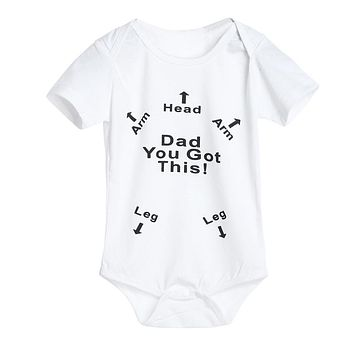 Newborn Infant Baby Boys Girls Letter Print Romper Jumpsuit Outfits Clothes