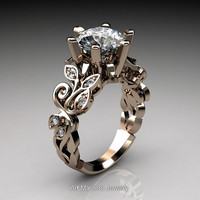 Nature Inspired 14K Rose Gold 3.0 Ct White Sapphire Diamond Leaf and Vine Crown Solitaire Ring RD101-14KRGDWS