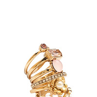 FOREVER 21 Faux Gem Floral Ring Set Gold/Pink