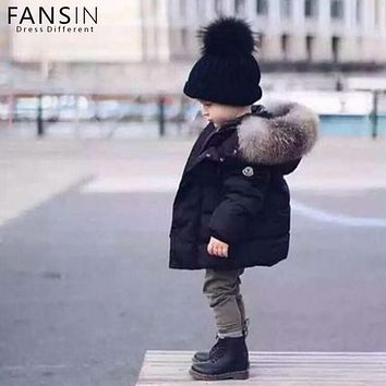 Baby Boys Jackets Fur Collar Snowsuit Warm Hooded Kids Children Autumn Winter Casual Outerwear Coat Boys Girls Clothes Parkas