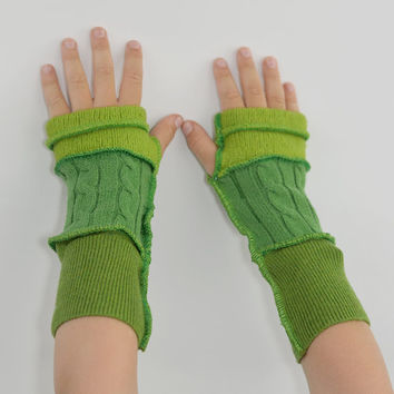Kids Arm Warmers in Fresh Greens - Apple Lime Grass - Segmented Sleeves - Recycled Sweaters