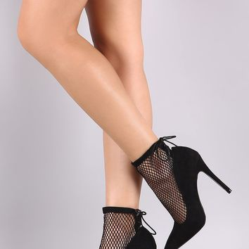 Qupid Suede Mesh Back Lace-Up Stiletto Booties