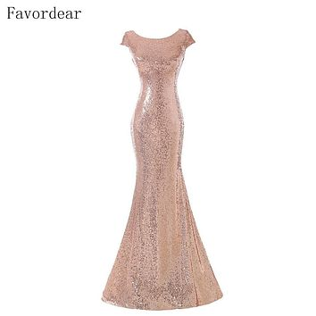 Favordear Sparkly Vestido De Festa Long Gold Wedding Party Gowns Champagne Rose Gold Sequin Bridesmaid Dress Hot