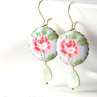 Dangle Earrings, Shabby Cottage Chic Roses, Pink Green Flowers, Blue Fabric Covered Buttons Earrings Mother of Pearl Teardrop Bridal Wedding