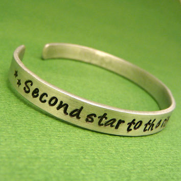 Peter Pan Inspired - Second Star To The Right And Straight On 'Til Morning - A Hand Stamped Aluminum Bracelet