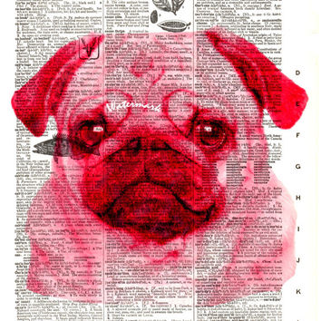 Pug Dog - Red - Vintage Dictionary Art Print - Page Size 8.5x11