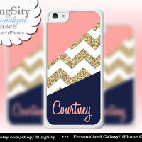 Coral Navy Gold Sparkle Chevron Monogram iPhone 5C case, 5 iPhone 4 Case Ipod 4 5 Case Gray Grey Block Personalized Gift NOT Actual Glitter
