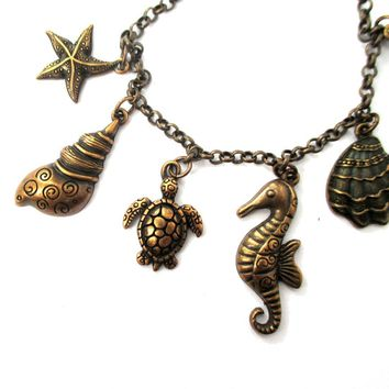 Seashell Turtle Starfish Seahorse Sea Creatures Charm Bracelet in Bronze