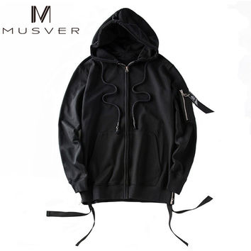 Black High Quality Hip Hop Cardigan Men Streetwear Hoodies Sweatshirts Rock Justin Bieber Jacket Clothes Zipper Loose Clothing