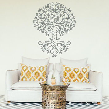 Tree Wall Decal, Vinyl Wall Decal, Removable Wall Decal, Living Room Decor, Bohemian Wall Art, Wall Design Ideas, Pattern Wall Vinyl #049