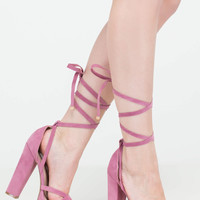 En Pointe Lace-Up Chunky Heels
