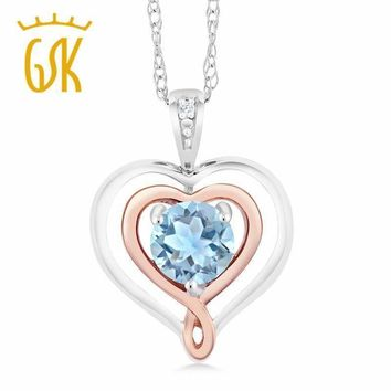 GemStoneKing 925 Sterling Silver &10K Rose Gold Heart Pendant Necklace For Women Aquamarine with Diamond Accent Fine Jewelry