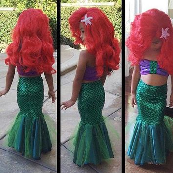 summer girls dress the little mermaid tail princess ariel dress cosplay costume for girl fancy green dress