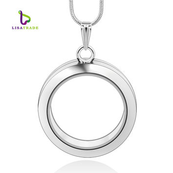 1PC 30mm Round magnetic glass floating charm locket, 4 colors 2 styles Memory photo locket (includ free chain) LSFL02-1