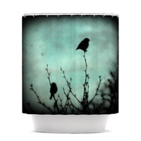 "Robin Dickinson ""On Top"" Teal Dark Shower Curtain"