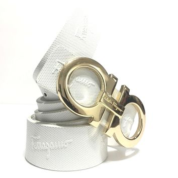 Salvatore Ferragamo Belt | Size 36 or 90cm | White Leather | Gold Buckle | SIG