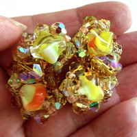 Yellow Orange Givre AB Rhinestone Earrings, Multi Color, Gold Tone, Large Vintage