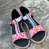 Pink T Strap Vegan Womens Sandals In  Ethnic Hmong Embroidery And Batik - Lindsay