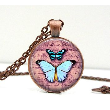 Butterfly Script Necklace: Pendant. Butterfly Art. Butterfly Jewelry. Pink Blue. Copper Jewelry. Handmade. Jewellery. Lizabettas (1701)