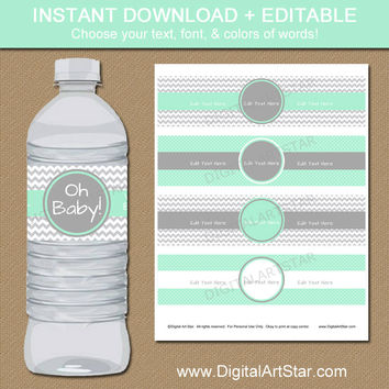 Mint & Grey Water Bottle Labels - Mint Green Baby Shower Decorations - EDITABLE Water Labels - Printable Baby Shower Ideas Party Decorations
