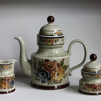 Rare German Coffee Pot Teapot Set w/ Sugar & Creamer, Vintage Asta ASZ2 Decor Cortina Ceramic Porcelain China, Made in Germany