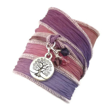 Hand Dyed Silk Ribbon Bracelet with Tree LIfe Charm by charmeddesign1012