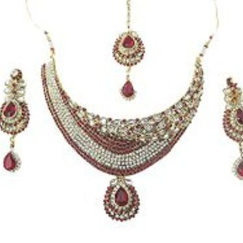 Deserving Bridal Necklace Set- Ruby White Stones Kundan Necklace Earrings Set India | Mogul Interior