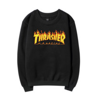 Thrasher flame Hedging pullover Tops Sweater Couple Lovers fleece
